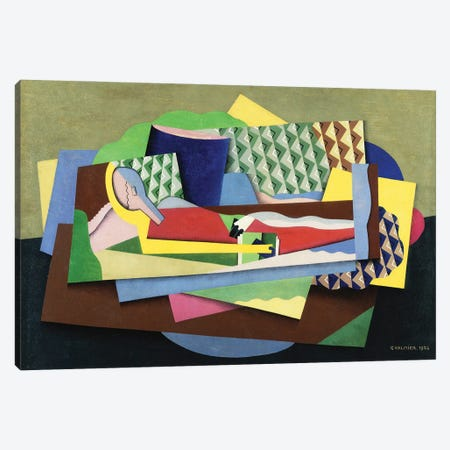 Reclining Woman (Femme Couchee), 1924 Canvas Print #GVL8} by Georges Valmier Canvas Artwork