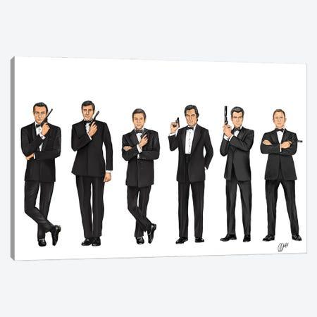 James Bond 007 - Through The Years Canvas Print #GVR14} by Gav Norton Canvas Art