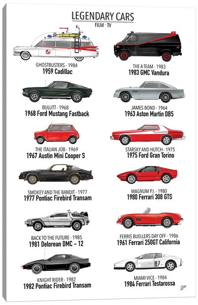 Legendary Cars Of Film And TV Canvas Art Print