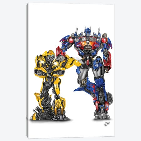 Optimus And Bee Canvas Print #GVR18} by Gav Norton Canvas Print