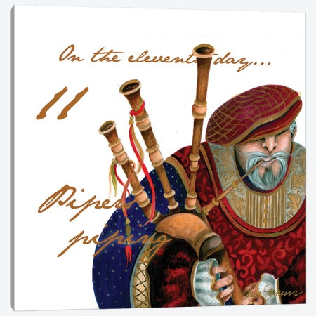 Eleven Pipers Piping Canvas Print #GYN14} by Janice Gaynor Canvas Artwork