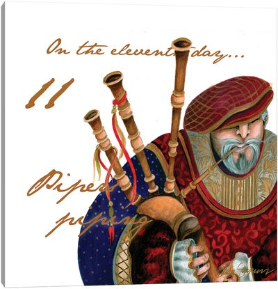 Eleven Pipers Piping Canvas Art Print