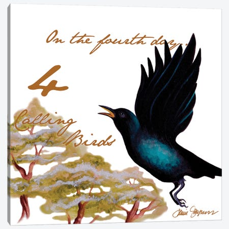 Four Calling Birds Canvas Print #GYN16} by Janice Gaynor Canvas Art