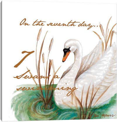 Seven Swans a-Swimming Canvas Art Print