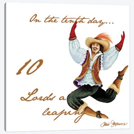 Ten Lords a-Leaping Canvas Print #GYN23} by Janice Gaynor Canvas Art