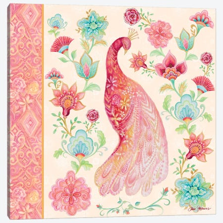 Pink Medallion Peacock I Canvas Print #GYN38} by Janice Gaynor Canvas Art Print