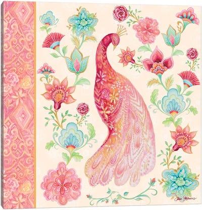 Pink Medallion Peacock I Canvas Art Print