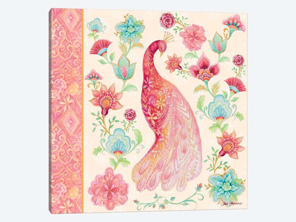 Pink Medallion Peacock I by Janice Gaynor 1-piece Canvas Wall Art
