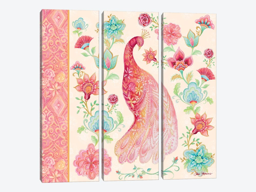Pink Medallion Peacock I by Janice Gaynor 3-piece Canvas Art