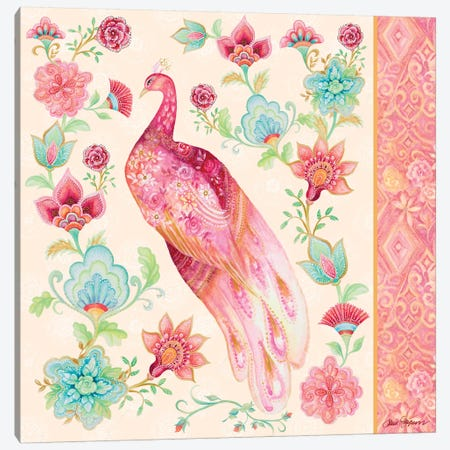 Pink Medallion Peacock II 3-Piece Canvas #GYN39} by Janice Gaynor Art Print