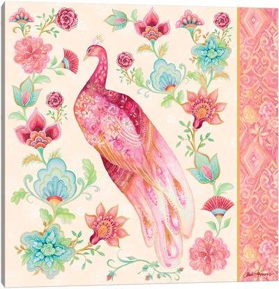 Pink Medallion Peacock II Canvas Art Print