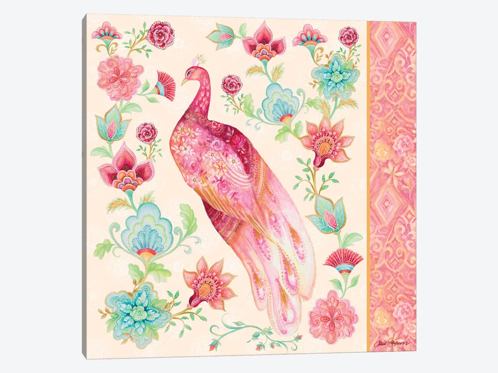 Pink Medallion Peacock II by Janice Gaynor 1-piece Canvas Print
