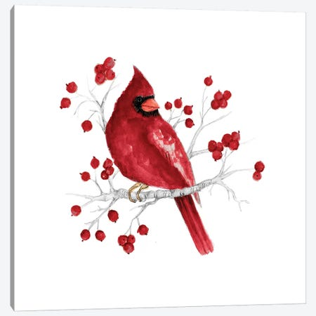 Winter Cardinal In Red I 3-Piece Canvas #GYN40} by Janice Gaynor Canvas Art