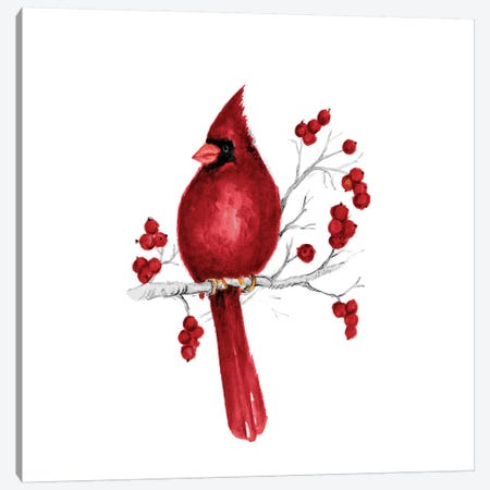 Winter Cardinal In Red II 3-Piece Canvas #GYN41} by Janice Gaynor Canvas Artwork