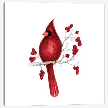 Winter Cardinal In Red II Canvas Print #GYN41} by Janice Gaynor Canvas Artwork