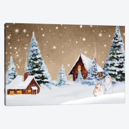Christmas Village Canvas Print #GYN42} by Janice Gaynor Canvas Artwork