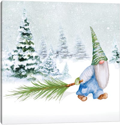 Gnomes on Winter Holiday I Canvas Art Print
