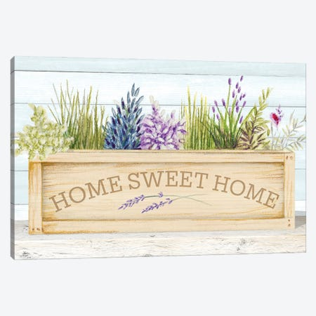 Lavender & Wood Planter Home Canvas Print #GYN46} by Janice Gaynor Canvas Art Print