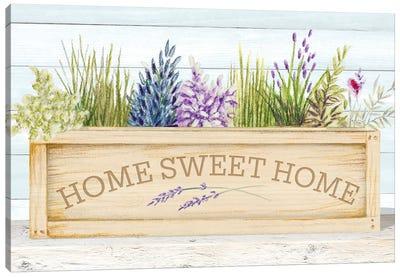 Lavender & Wood Planter Home Canvas Art Print