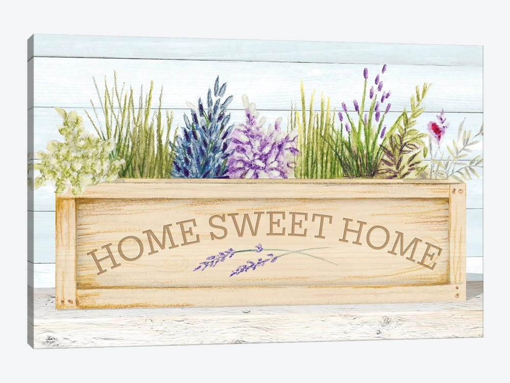 Lavender & Wood Planter Home by Janice Gaynor 1-piece Art Print