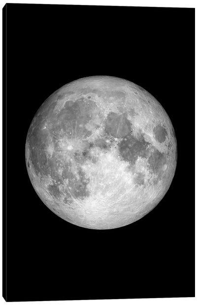 Full Moon - Black Canvas Art Print