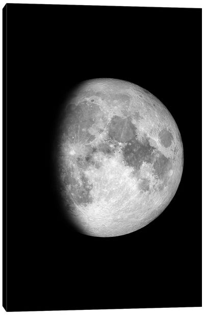 Waxing Gibbous Moon - Black Canvas Art Print