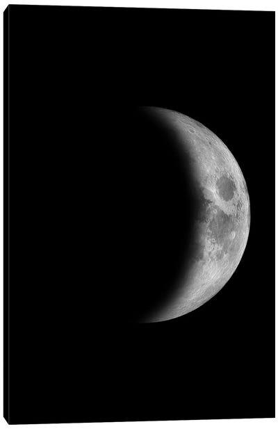 Waxing Crescent Moon - Black Canvas Art Print