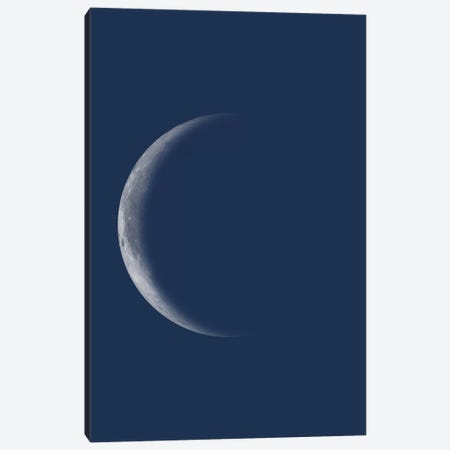 Waning Crescent Moon - Blue Canvas Print #GYO137} by GetYourNerdOn Art Print