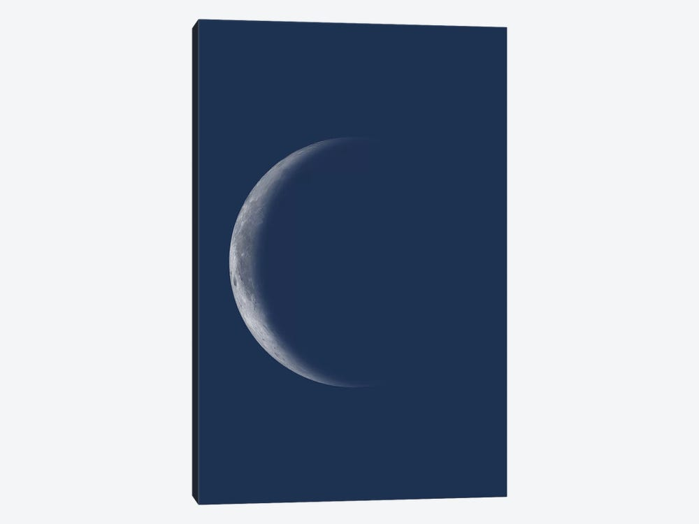 Waning Crescent Moon - Blue by GetYourNerdOn 1-piece Canvas Wall Art