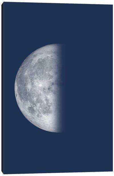 Last Quarter Moon - Blue Canvas Art Print