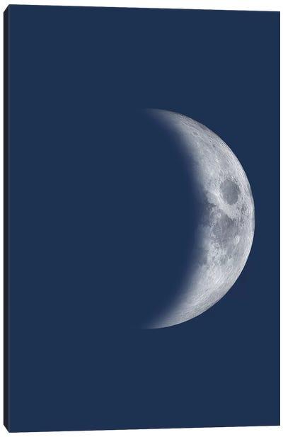 Waxing Crescent Moon - Blue Canvas Art Print