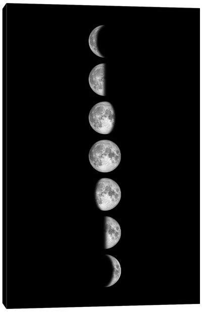 Minimalist Moon Phases - Black Canvas Art Print