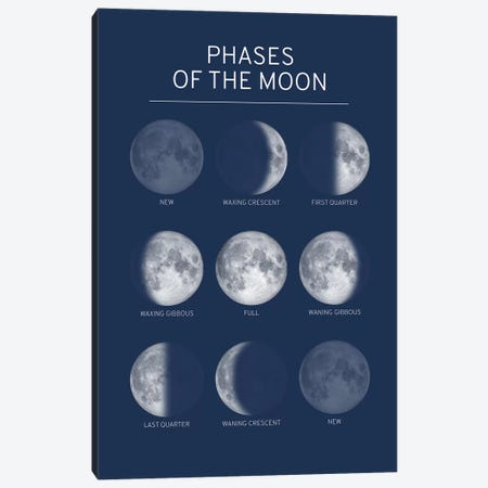 Phases of the Moon Chart - Blue Canvas Print #GYO148} by GetYourNerdOn Canvas Art Print