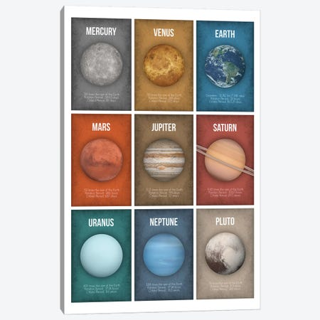 Planet Series Collage II Canvas Print #GYO14} by GetYourNerdOn Art Print