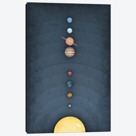 Solar System on Blue II Canvas Print #GYO158} by GetYourNerdOn Canvas Wall Art