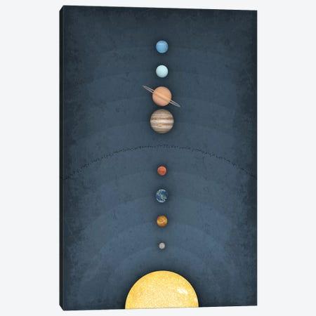Solar System on Blue II Canvas Print #GYO158} by GetYourNerdOn Canvas Wall Art