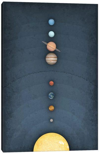 Solar System on Blue II Canvas Art Print