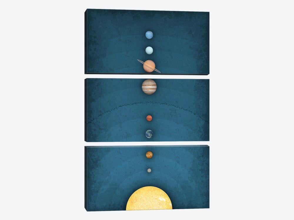 Solar System on Blue I by GetYourNerdOn 3-piece Canvas Wall Art