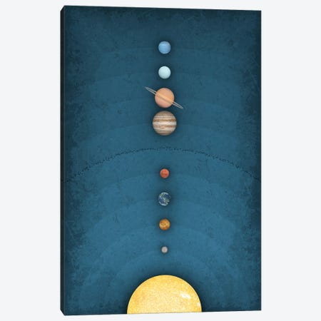 Solar System on Blue I Canvas Print #GYO159} by GetYourNerdOn Canvas Artwork