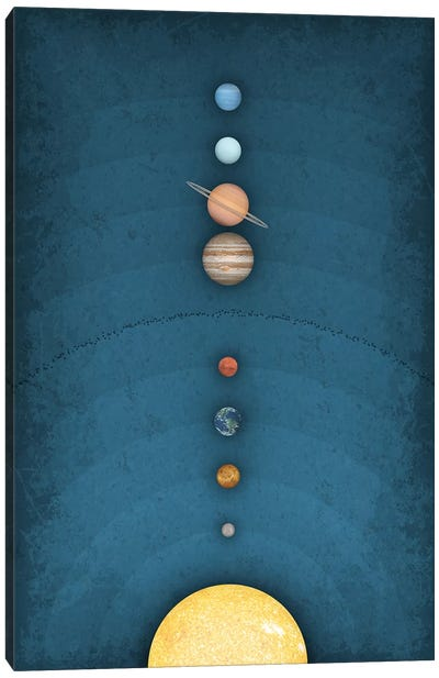 Solar System on Blue I Canvas Art Print