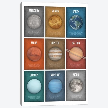Planet Series Collage III Canvas Print #GYO15} by GetYourNerdOn Art Print