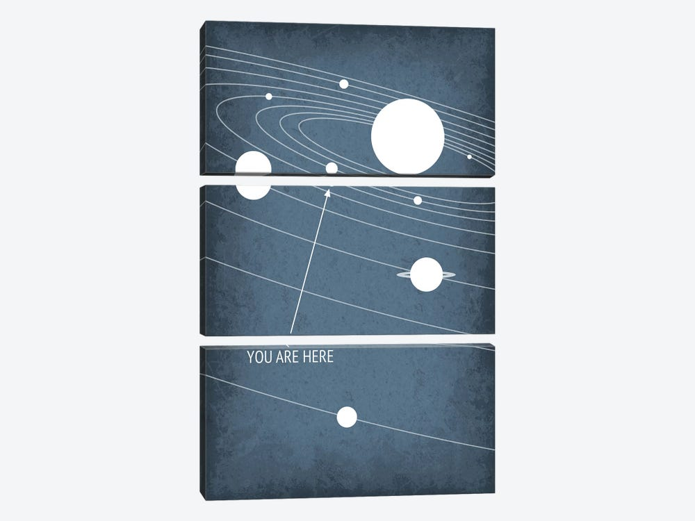 You Are Here - Solar System by GetYourNerdOn 3-piece Canvas Art