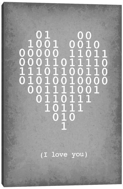 "Binary Code Heart ""I love you"" Canvas Art Print"