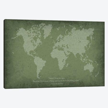 Binary Code World Map Canvas Print #GYO163} by GetYourNerdOn Canvas Art Print