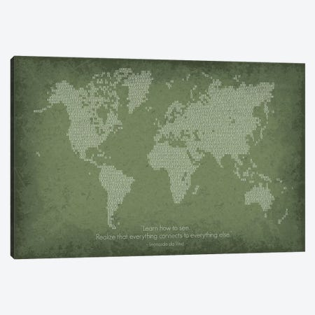 Binary Code World Map Canvas Print #GYO163} by GetYourNerdOn Canvas Art Print