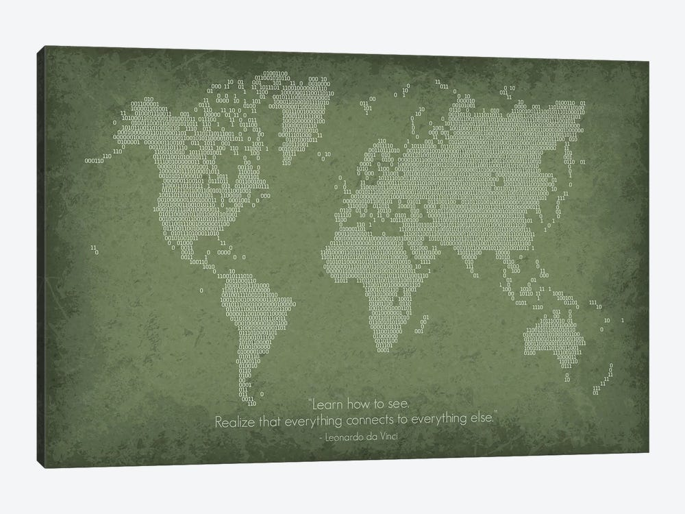 Binary Code World Map 1-piece Art Print