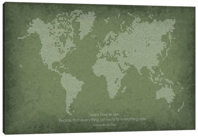 Binary Code World Map Canvas Art Print