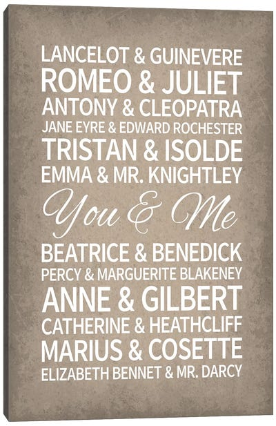 Famous Couples in Literature Canvas Art Print