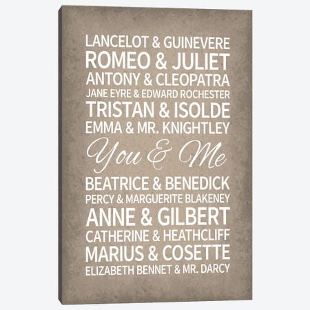 Famous Couples in Literature Canvas Print #GYO167} by GetYourNerdOn Canvas Wall Art