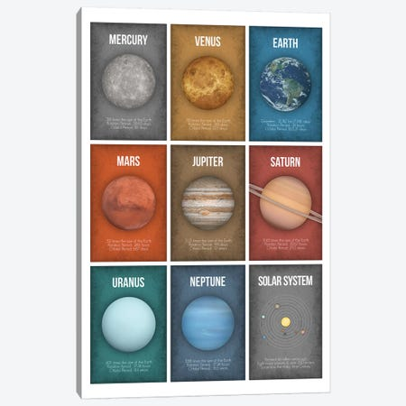 Planet Series Collage IV Canvas Print #GYO16} by GetYourNerdOn Canvas Print